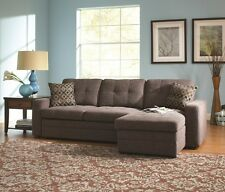 Gray Button Tufted Convertable Sectional Sleeper Sofa w/ Pull Out Bed u0026 Pillows : sectional pull out sofa - Sectionals, Sofas & Couches