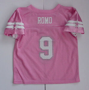 reputable site e1497 004bb Details about NWT Tony Romo 9 Dallas Cowboy MESH Jersey Pink Glitter  Toddler Sz 2T 3T 4T