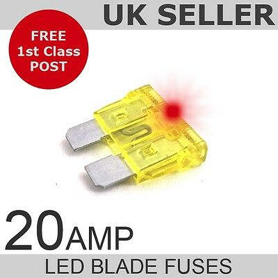 LED 20A Amp Standard Blade Fuses *Quantity 10*