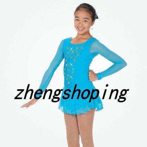 bluee Competition Skating Dress Athletic Twirling Costume 8887