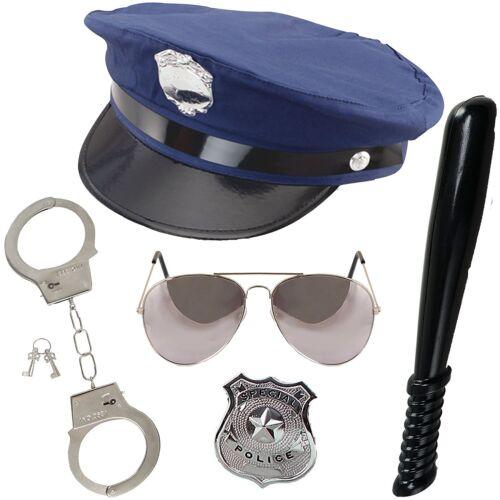 Adult Cop Constable Men Women NYPD US Police 5pc set Uniform Fancy Dress Unisex