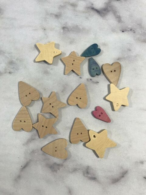 Lot Of 15 Unfinished Wood Wooden Shapes Small Hearts And Stars Craft