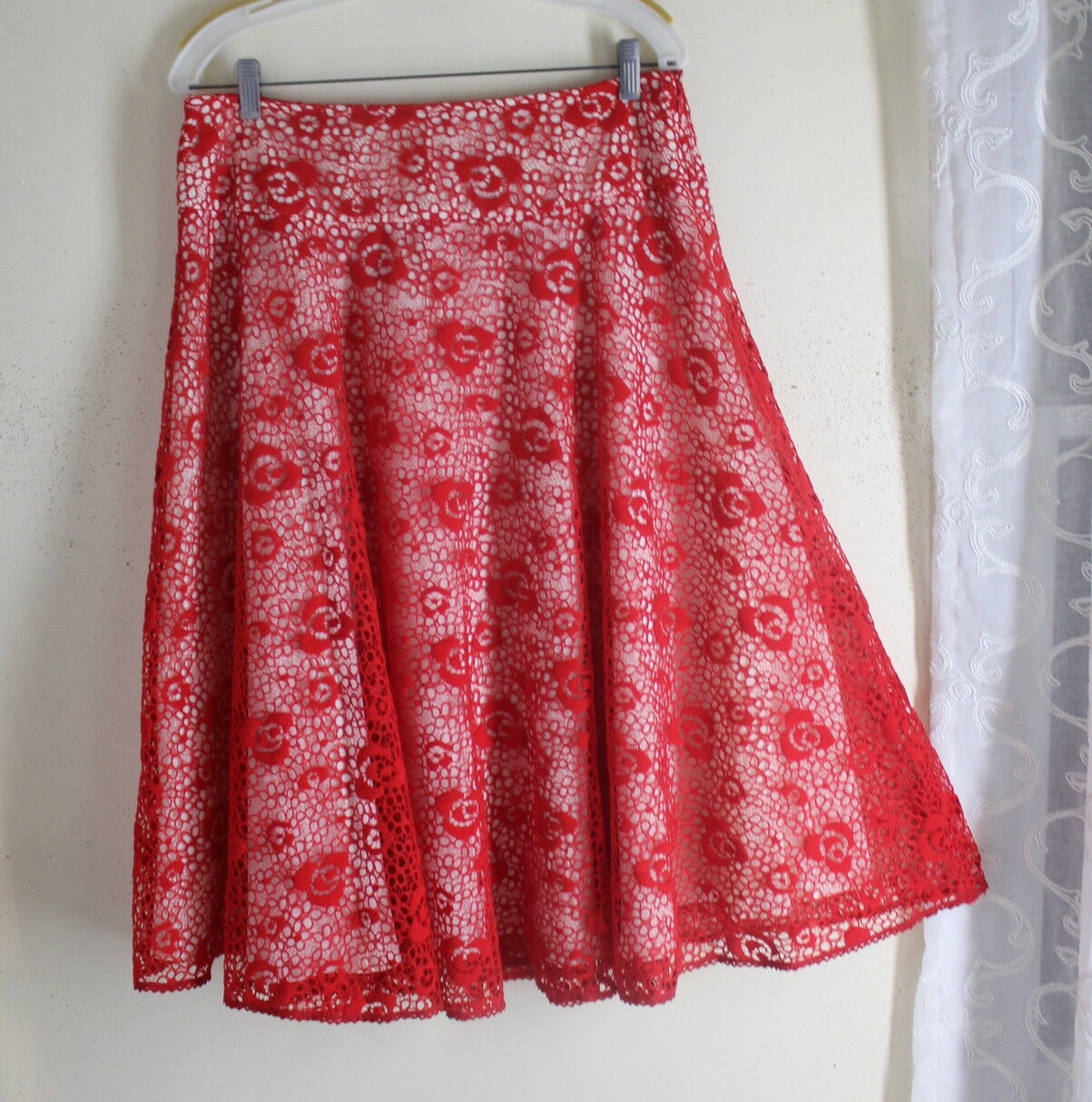 LAPIS  L 10 12 Boutique Full Lace Amazing Floral Art-to-Wear Full A-Line Skirt