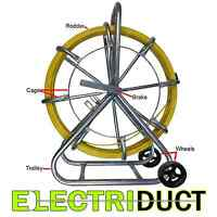 750ft X 1/4 Diameter Cable Rodder Duct Coated Fiberglass W Cage And Wheel Stand