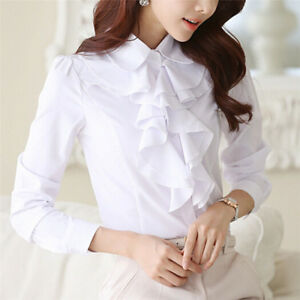 Women-039-s-Long-Sleeve-Blouses-Office-Tops-Ruffle-Shirts-Tops-Stand-Collar-OL-Tops