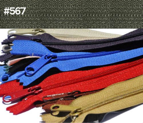 "10pcs 9/"" YKK #4.5 Handbag Or Purse Zipper With Extra-Long Pull Made In USA"