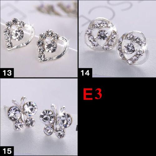 2-8 Paar Ohrstecker SET Luxus Perlen Strass Stein Ohrringe Ear Stud Silber