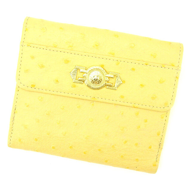 Gianni Versace Wallet Purse Yellow Gold Woman unisex Authentic Used T1716