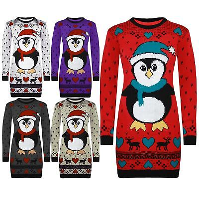 Womens Ladies Xmas Long Sleeve Chirstmasround Neck Tree Sweater Jumper Dress