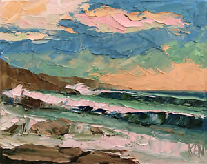 PINK-REFLECTIONS-Original-Expression-Ocean-Seascape-Painting-11x14-101017-KEN