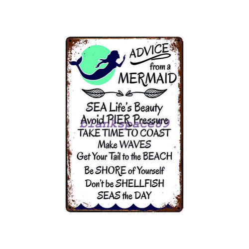 Metal Tin Sign advice from a mermaid Bar Pub Home Vintage Retro Poster