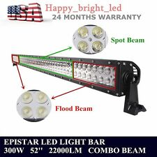 NEW 300W 52inch COMBO BEAM LED LIGHT BAR 12V 24V OFFROAD TRUCK JEEP ATV 22000LM