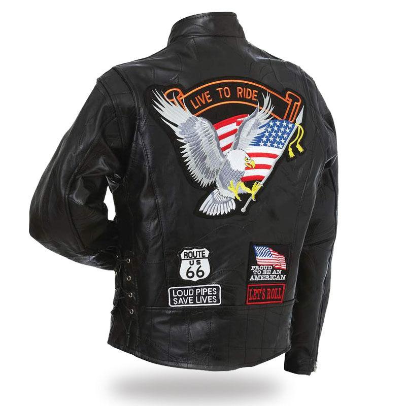 Giacca di pelle uomo Aigle live a ride Disponibile S a 4XL biker harley custom
