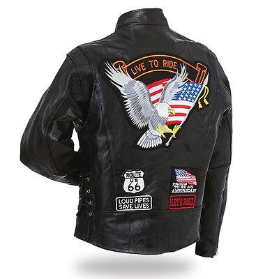"""Live To Ride /"""" S à 7XL pour biker country custom Gilet jacket en cuir /"""" Aigle"""