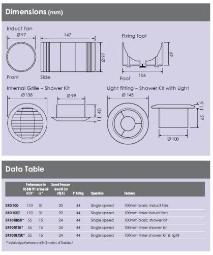 """4/"""" 100 mm Full Kit Silencieux Douche Salle De Bain Extracteur Ventilateur Minuterie modèle IP24 SRD100T"""
