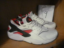 NIKE AIR HUARACHE ULTRA SIZE UK 9 WHITE RED BLACK TRAINERS EXCELLENT COND