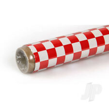 Oracover 2m Fun-3 Large Chequered Red//Black Covering for RC Model Planes