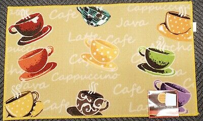 "9 COFFEE CUPS beige 16/"" x 24/"" non skid latex back PRINTED NYLON KITCHEN RUG"