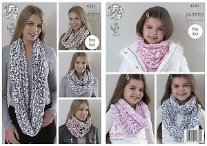 King-Cole-4541-Knitting-Pattern-Ladies-amp-Girls-Snoods-to-knit-in-King-Cole-Yummy