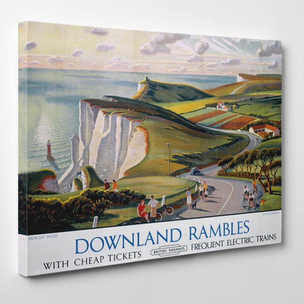 Eastbourne Downland Las ramblas Vintage Poster Gerahmter Leinwand Kunstdruck UK