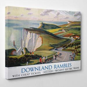 Eastbourne Downland Rambles Affiche Vintage - Encadré Toile Art Print Eu Town