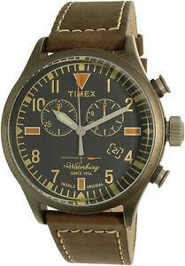 Timex-Men-039-s-Waterbury-TW2P84100-Silver-Leather-Quartz-Dress-Watch