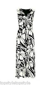 NEW-MARKS-AND-SPENCER-PETITE-BOLD-FLORAL-BLACK-amp-CREAM-MAXI-DRESS-RETAIL-49-50