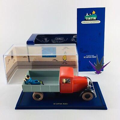 En Voiture Tintin N36 camion rouge lotus bleu boîte certificat