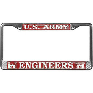 US-ARMY-CORPS-OF-ENGINEERS-METAL-LICENSE-PLATE-FRAME-MADE-IN-USA