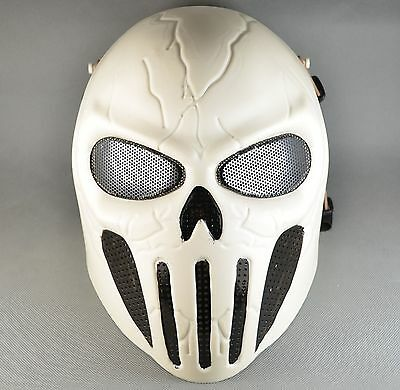White Airsoft Paintball ABS Full Face Protection Skull Mask Simple Practical J40