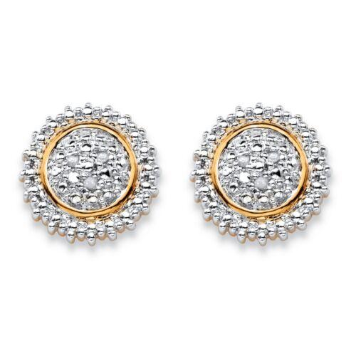 Diamond Accent Bicolore 18k plaqué or Boucles d/'oreilles Clou
