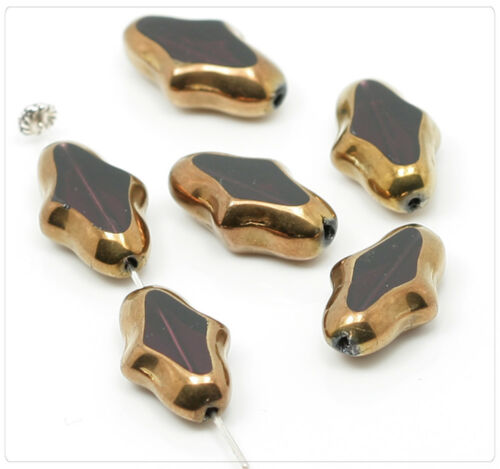 4x cuentas de vidrio con borde de metal beads joyas DIY bricolaje 18x11mm lila bronce gb122