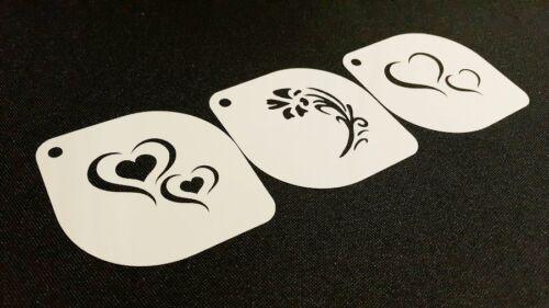 3pcs Valentine/'s Heart Love Flower Stencils Crafts Decoration Card Face Paint