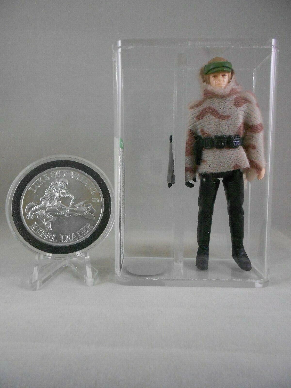 årgång stjärna Wars POTF 1985 Luke slåss Poncho AFA Grade 85 (NM w POTF Coin