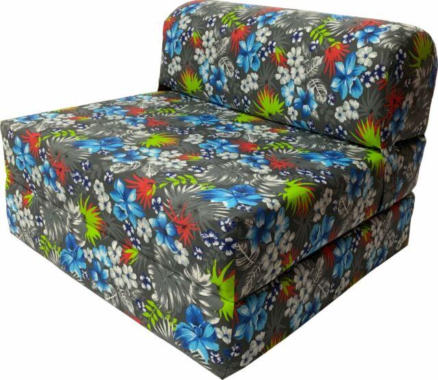 Tropical Flowers Blue 6 X 32 X 70 Sleeper Chair Folding Foam Bed