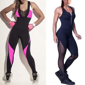 6923ef87042c Image is loading Women-Yoga-Legging-Trousers-Unitard-Rompers-Bodysuit- Jumpsuit-