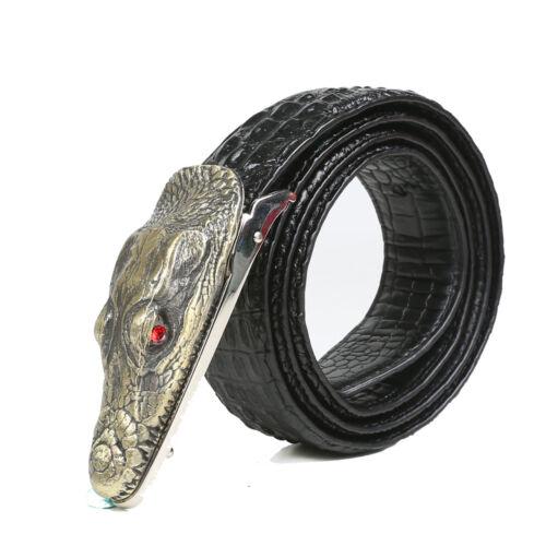 Crocodile-Embossed Men Alligator Design Leather Belts Genuine Cow Leather Belt 9