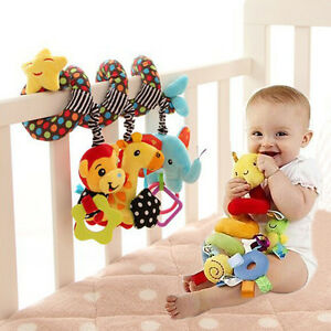 Baby Spiral Activity Hanging Toys Rattle Bell Plush Toy for Infant Stroller Crib 822113495654