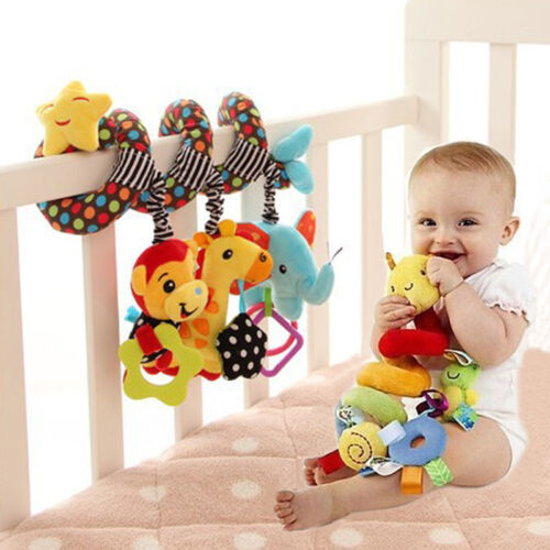 Cute Baby Spiral Soft Toy Pram Car Seat Cot Crib Activity Rattle Plush Toys Gift