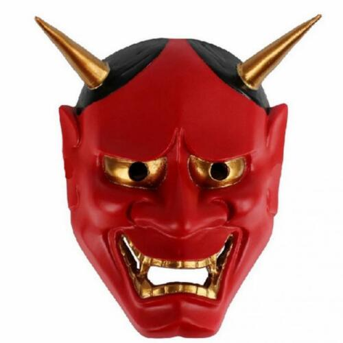 RED Oni Devil Traditional Japanese Halloween Mask Demon Fancy Dress Prajna