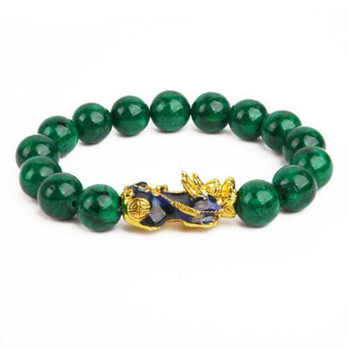 Cian Jade Esmeralda Oro Color Cambiante Pulsera de cadena ágata Pixiu Cadena De Jade