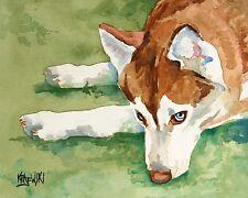 Husky Dog Art Print Signed by Artist Ron Krajewski Painting 8x10 Siberian