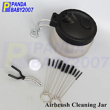 Air Brush Holder Glass Jar Cleaner Airbrush Paint Cleaning Pot Metal Handle X9R7
