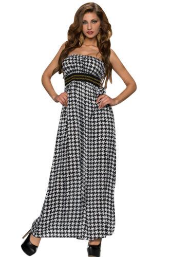 Abito lungo aperto nudo scollo Stampa Top Gonna Fascia Bandeau Maxi Print Dress