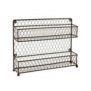 spice rack countertop 2 tier wire jars box storage kitchen organizer wall mount ebay. Black Bedroom Furniture Sets. Home Design Ideas