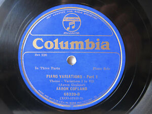 Details about 2x 78rpm AARON COPLAND Plays His Piano Variations - RARE  COLUMBIA