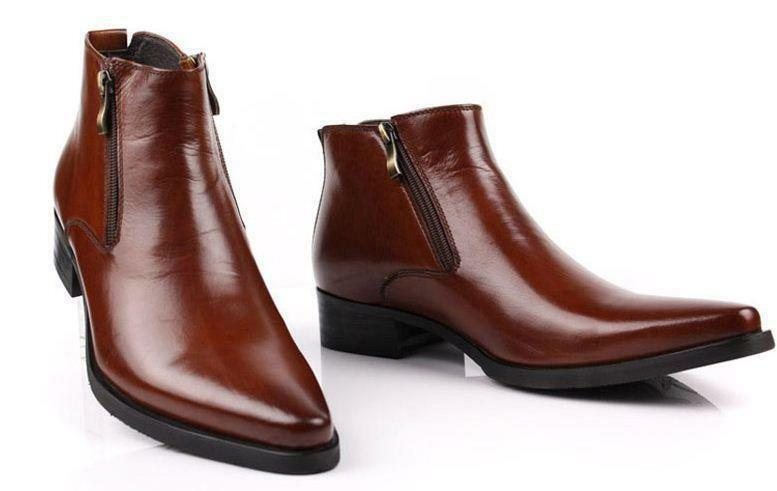 Mens Genuine Leather Boots Side Zipper pointy toe chukka Riding Dress shoes