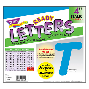 Blue 4-Inch Italic Upper/Lowercase Letters - Classroom Displays, Notice Boards