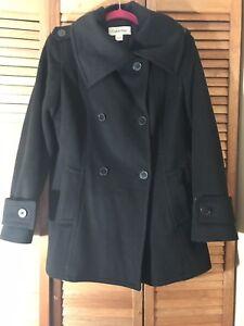 Calvin uld Style Klein Kvinder Sort 10 Størrelse ærter Vintercoat pqEwq7fd