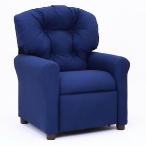 Image Is Loading Traditional Kids Recliner Comfortable Blue Lounge Chair  Furniture